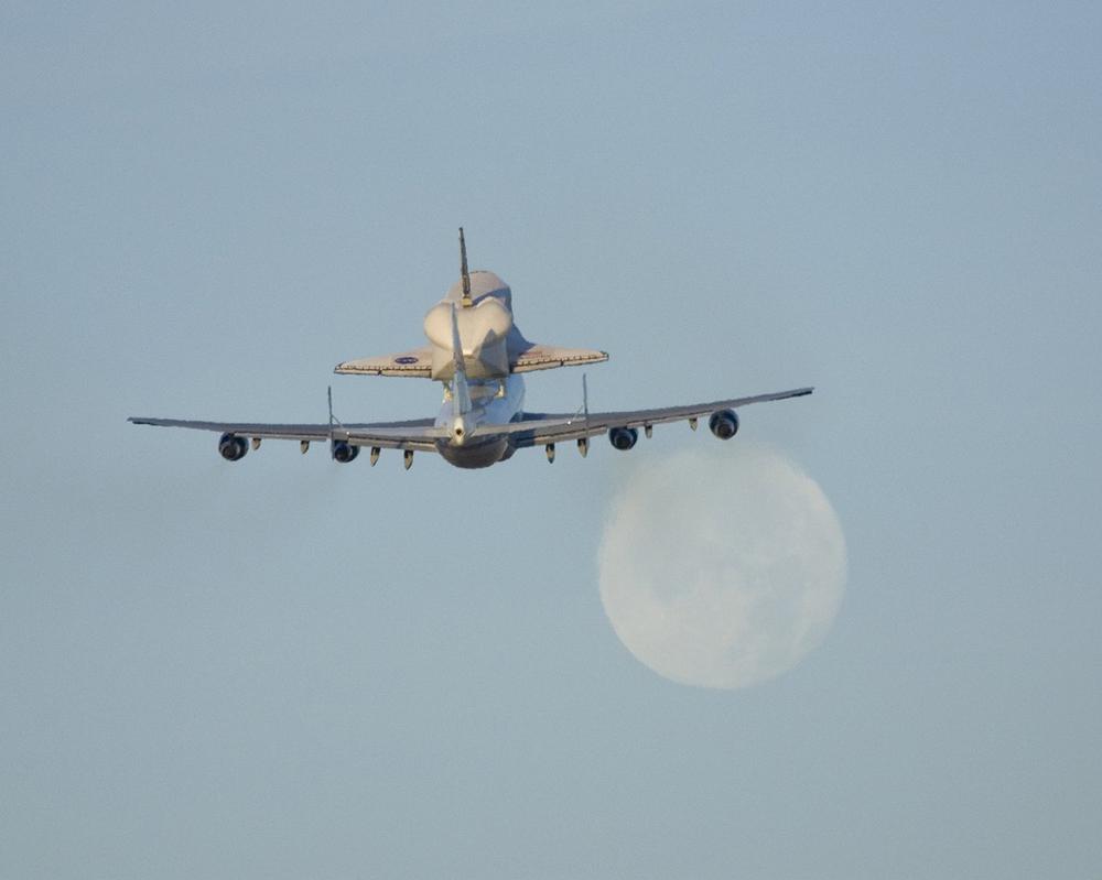 Space Shuttle Atlantis Flies Atop NASA's Modified Boeing 747