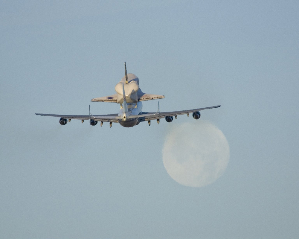 Space Shuttle Atlantis Flies Atop NASA's Modified Boeing 747