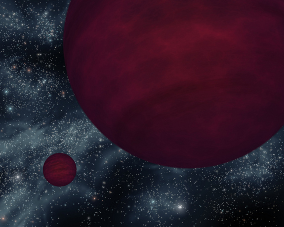 """In this illustration, twin brown dwarfs orbit each other. Despite the name """"brown dwarf"""", these objects cool and change over time, and therefore do not have a definitive color."""