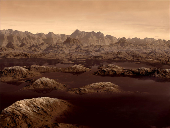 This artist's concept shows similar lakes of ethane thought to exist on Saturn's moon Titan.