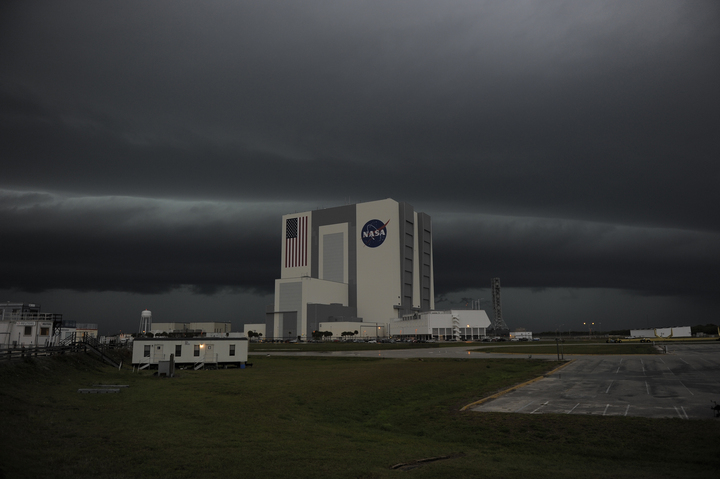 Severe Storms Rock Space Shuttle Endeavour Launch Site