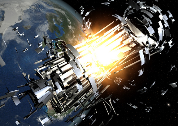 An artist's illustration of a satellite collision from space debris in orbit. Space traffic accidents only beget more such accidents.