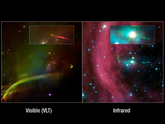 This image layout shows two views of the same baby star -- at left is a visible-light image, and at right is an infrared image from NASA's Spitzer Space Telescope. Spitzer's view shows that this star has a second, identical jet shooting off in the opposite direction of the first. Both jets are seen in green in the Spitzer image, emanating from the fuzzy white star. Only one jet can be seen in the visible image in red.