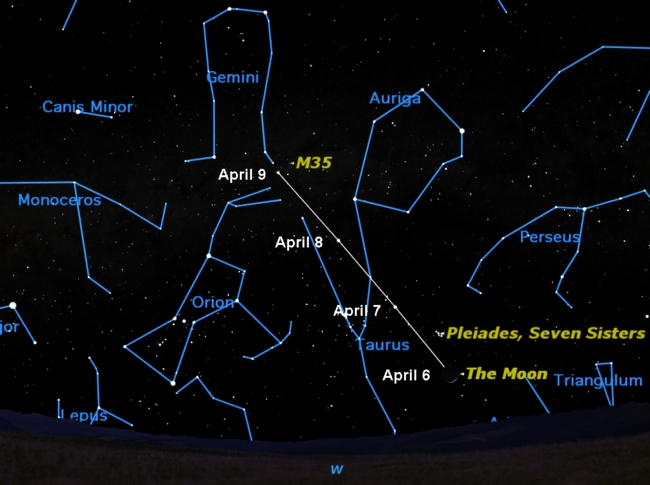 The Moon Visits Two Star Clusters in Night Sky