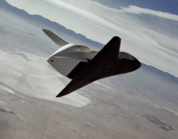 The space shuttle prototype Enterprise flies free after being released from NASA's 747 Shuttle Carrier Aircraft over Rogers Dry Lakebed during the second of five free flights carried out at the Dryden Flight Research Center, in Edwards, Calif., as part of the shuttle program's Approach and Landing Tests (ALT). The tests were conducted to verify aerodynamics and handling characteristics in preparation for orbital flights with the Space Shuttle Columbia, which began in April 1981.