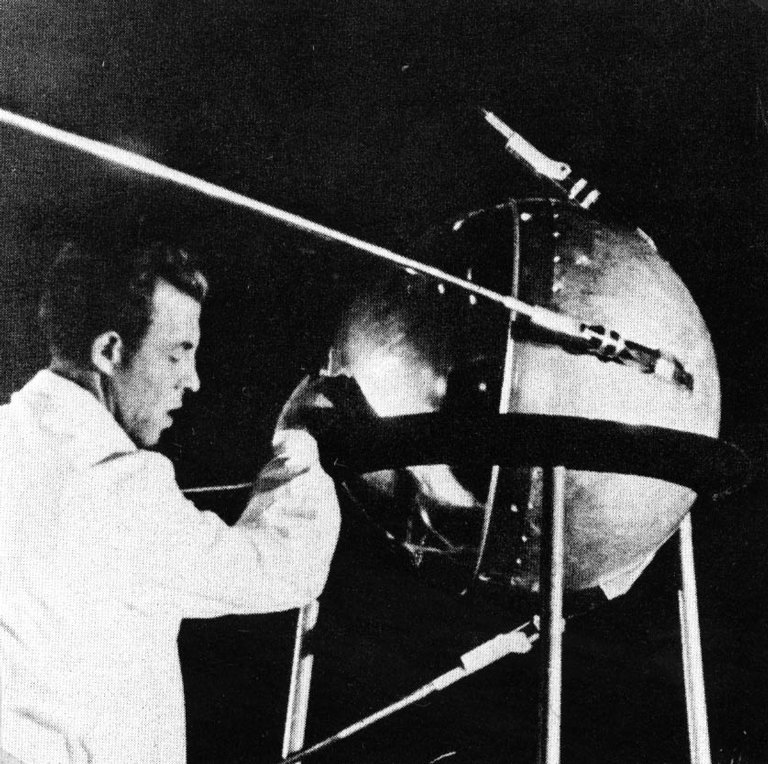 Soviet Technician Works on Sputnik 1