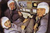 Soyuz 11 cosmonauts Viktor Patsayev, Georgi Dobrovolsky, and Vladislav Volkov are shown in a flight simulator in this photo.