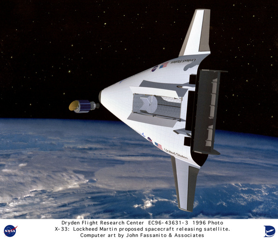 This is an artist's conception of the NASA/Lockheed Martin Single-Stage-To-Orbit (SSTO) Reusable Launch Vehicle (RLV) releasing a satellite into orbit around the Earth. The X-33 was designed to be a technology demonstrator vehicle for such a possible RLV. The RLV technology program was a cooperative agreement between NASA and industry.