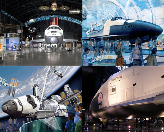 NASA has decided the final museum homes for its space shuttle fleet. Shuttle Discovery will go to the National Air and Space Museum's Steven F. Udvar-Hazy Center, Chantilly, Va. (upper left); the shuttle test orbiter Enterprise will go to the Intrepid Sea, Air & Space Museum, New York City (illustration at upper right);  shuttle Atlantis will go to the Kennedy Space Center Visitor Complex, Florida (bottom left). The test orbiter Enterprise is shown at bottom right.