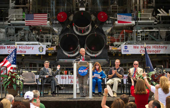 NASA Administrator Charles Bolden announces where four space shuttle orbiters will be permanently displayed at the conclusion of the Space Shuttle Program during an event held at one of the Orbiter Processing Facilities, Tuesday, April 12, 2011, at Kennedy Space Center in Cape Canaveral, Fla.
