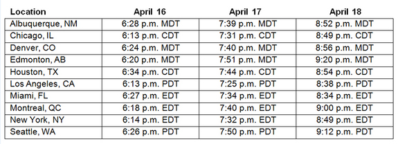 This table shows moonrise times for April 16-18, 2011, at North American locations.