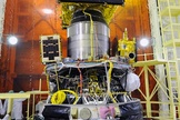 The PSLV's three satellite payloads stacked before the rocket's nose shroud was installed.
