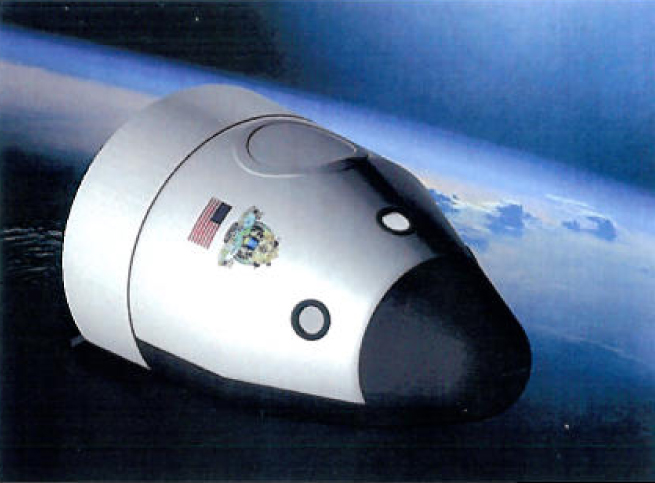 This artist's illustration of the orbital crew-carrying spaceship planned by the private company Blue Origin was included in the firm's NASA Space Act agreement to continue its work on a commercial crew space vehicle.