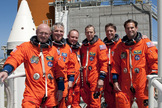 The astronauts of STS-134 came to Kennedy Space Center recently for countdown rehearsal. The real countdown for Space shuttle Endeavour is scheduled for Friday afternoon, April 29, 2011. From left, the astronauts are Commander Mark Kelly, Pilot Gregory H. Johnson and Mission Specialists Mike Fincke, Drew Feustel, Roberto Vittori and Greg Chamitoff.
