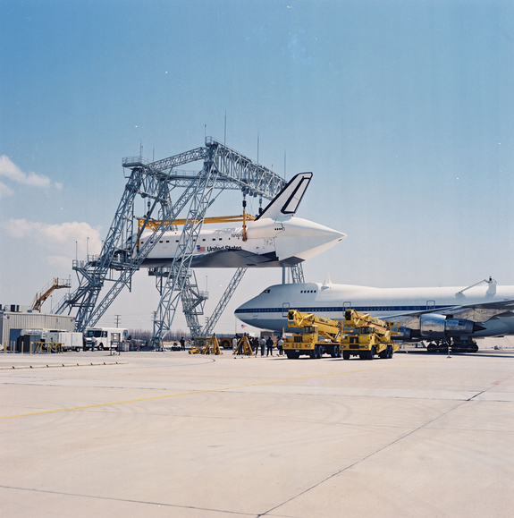 OV-105 Endeavour is mated to the Shuttle Carrier Aircraft (SCA) at Rockwell Palmdale facility on May 1, 1991.