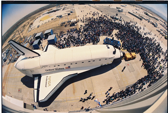 This image shows OV-105 being rolled out after the build at the Rockwell Palmdale facility on April 25, 1991.