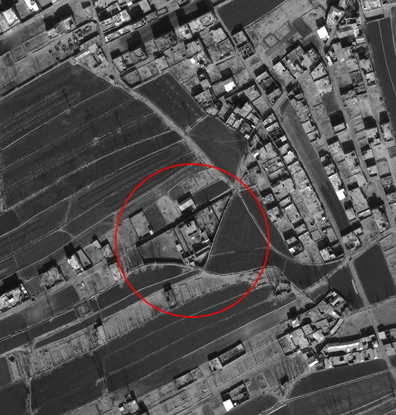 This January 15, 2011, satellite image of Abbottabad, Pakistan shows the probable compound where Osama Bin Laden was shot and killed centered in the image. The house is on a upside down triangular shaped lot.