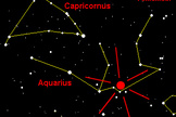 This NASA graphic shows where to look in the constellation Aquarius for the Eta Aquarid meteor shower, which is made of the remains from Halley's Comet.