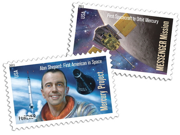 The U.S. Postal Service issued on May 4 a pair of stamps for the first U.S. astronaut and the first probe to orbit Mercury.