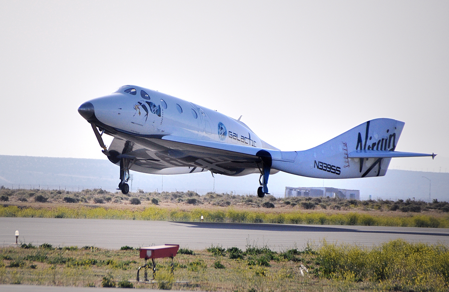 SpaceShipTwo Lands After Feathering Test