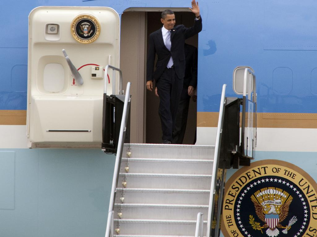 President Obama Appears in Doorway of Air Force One