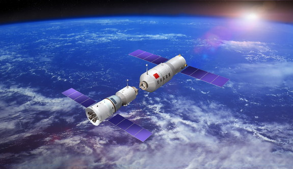 China is developing its first full-fledged space station, called Tiangong (Heavenly Palace). Early tests of China's skills at rendezvous and docking, shown in this artist's illustration, are set to begin in 2011.