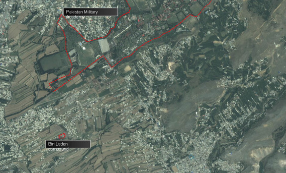 This overview shows Osama bin Laden's compound proximity to the Pakistan Military Academy and the densely populated area in which it is located, and not isolated as speculated.