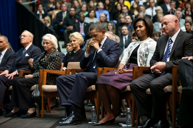 President Barack Obama, First Lady Michelle Obama and Mark Kelly at Tucson Memorial Service