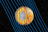 "Artist's concept of the internal structure of Jupiter's moon Io. A global magma ""ocean"" (shown in orange) lies beneath a crust 30 to 50 kilometers thick. The rest of Io's mantle is shown in gold, while the moon's core is rendered in silver."