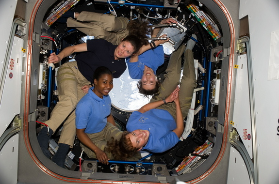 Four women serving together on the International Space Station on April 14, 2010, represented the highest number of women in space simultaneously. Clockwise from lower right are NASA astronauts Dorothy Metcalf-Lindenburger, Stephanie Wilson, both STS-131 mission specialists; and Tracy Caldwell Dyson, Expedition 23 flight engineer; along with Japan Aerospace Exploration Agency (JAXA) astronaut Naoko Yamazaki, STS-131 mission specialist.