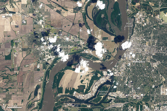 The Thematic Mapper on Landsat 5 captured this image of Memphis, TN, on April 21, 2010.