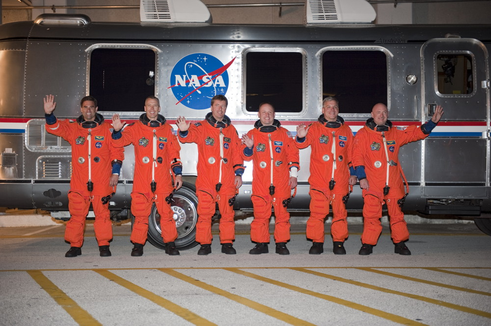 STS-134 Crew in Front of the Astrovan