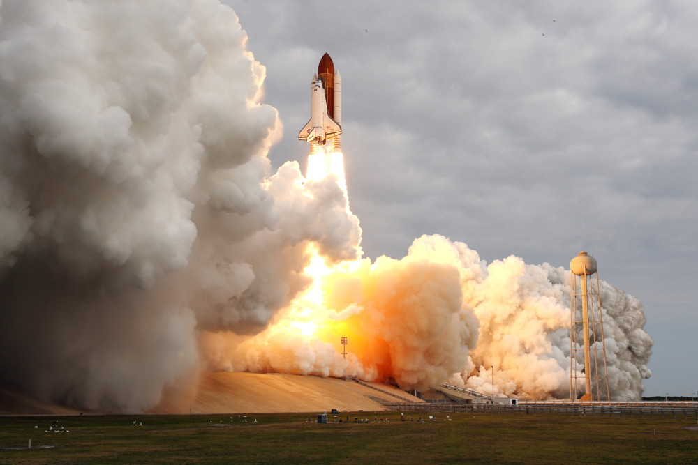 Endeavour Launches with Smoke and Flame