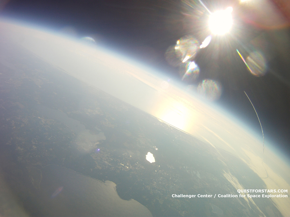 Shuttle Endeavour's Launch, as Seen by the Quest for Stars Balloon