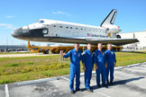 The crew of STS-135, NASA's final mission for its space shuttle program, pose in front of their spacecraft, space shuttle Atlantis on May 17, 2011. From left to right: mission specialist Rex Walheim, commander Chris Ferguson, pilot Doug Hurley and mission specialist Sandra Magnus.