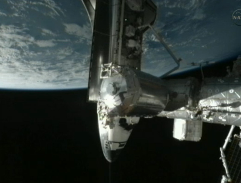 Shuttle Endeavour Docks At Space Station for the Last Time