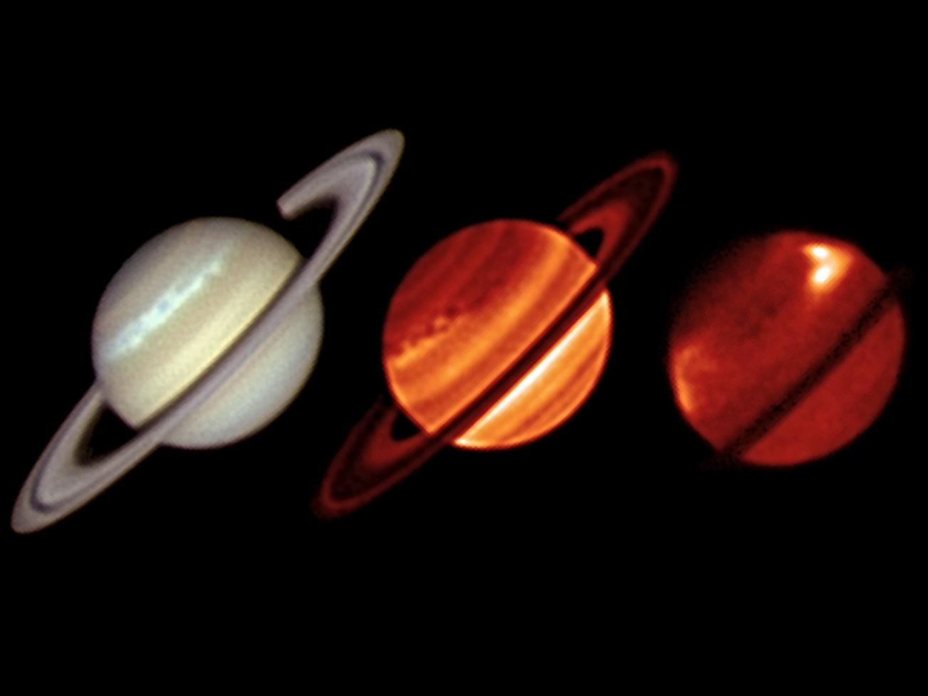 A comparison of thermal infrared images of Saturn from the European Southern Observatory's Very Large Telescope (VISIR instrument) is shown, with an amateur visible-light view from Trevor Barry (Broken Hill, Australia) obtained on Jan. 19, 2011The images