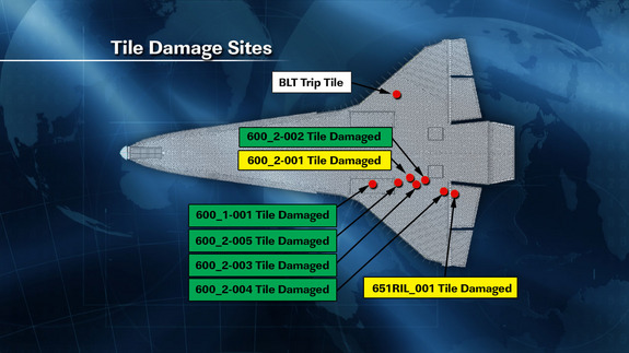 This NASA graphic released May 19, 2011 shows the location of damaged tiles on the belly of space shuttle Endeavour caused by debris during its May 16 launch into orbit.
