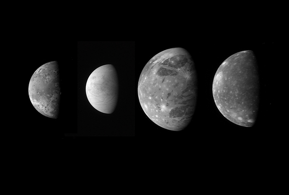 "This montage shows the best views of Jupiter's four large and diverse ""Galilean"" satellites as seen by the Long Range Reconnaissance Imager (LORRI) on the New Horizons spacecraft during its flyby of Jupiter in late February 2007. The four moons are, from left to right: Io, Europa, Ganymede and Callisto. The images have been scaled to represent the true relative sizes of the four moons and are arranged in their order from Jupiter."