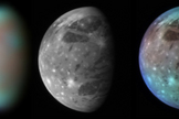 This montage compares New Horizons' best views of Ganymede, Jupiter's largest moon, gathered with the spacecraft's Long Range Reconnaissance Imager (LORRI) and its infrared spectrometer, the Linear Etalon Imaging Spectral Array (LEISA).