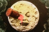 Restored color frame shows iconic scene from Georges Méliès 1902 film, A Trip to the Moon.