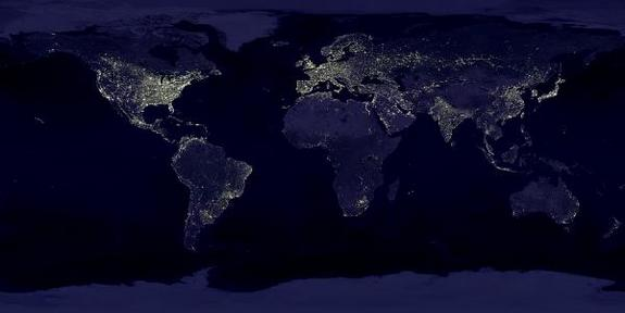 This satellite photo taken back in 1995 shows the extent of nighttime lights across the planet.