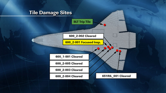 This NASA graphic released May 20, 2011, (Flight Day 5) shows the location of damaged tiles on the belly of space shuttle Endeavour caused by debris during its May 16 launch into orbit.