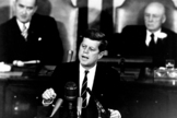 On May 25, 1961, President John F. Kennedy announced his goal of putting a man on the moon by the end of the decade.