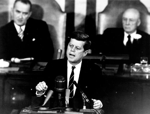 President John F. Kennedy giving moon speech in 1961