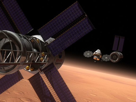 Artist's rendering of the Multi-Purpose Crew Vehicle on a deep space mission.