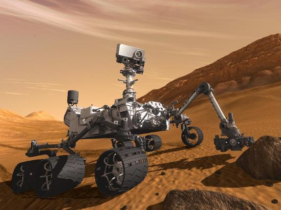 This artist's concept features NASA's Mars Science Laboratory Curiosity rover, a mobile robot for investigating Mars' past or present ability to sustain microbial life. Curiosity launched toward the Red Planet on Nov. 26, 2011.