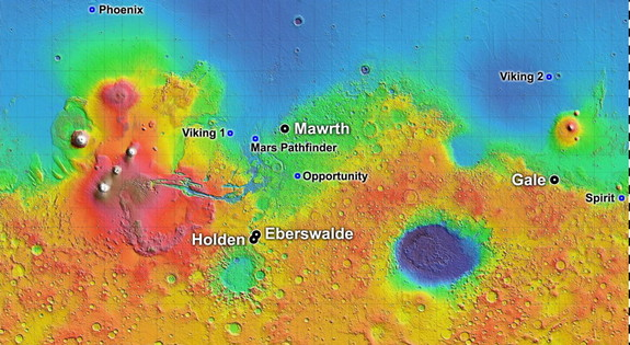 Out of more than 30 sites considered as possible landing targets for NASA's Mars Science Laboratory mission, by November 2008 four of the most intriguing places on Mars rose to the final round of the site-selection process.