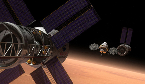 Artist's rendering of NASA's Orion Multi-Purpose Crew Vehicle on a deep space mission.