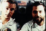 Candid photo of Apollo 17 astronauts Eugene Cernan and Harrison Schmitt aboard their spacecraft  during their December 1973 lunar landing mission with command module pilot Ronald Evans.